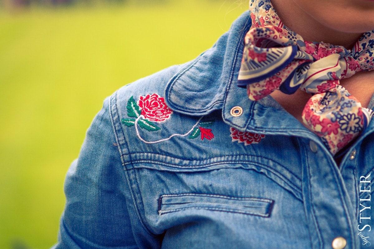 pin up,jeans,baleriny,spódnica,spódnica rozkloszowana,koszula jeansowa,country,Watykan,Rzym,Włochy