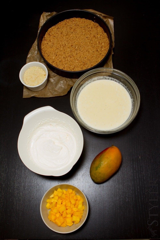 ciasta bez pieczenia,ciasto z mango na zimno