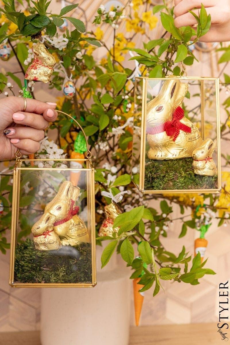 Wielkanocne dekoracje Złote Zajączki Lindt