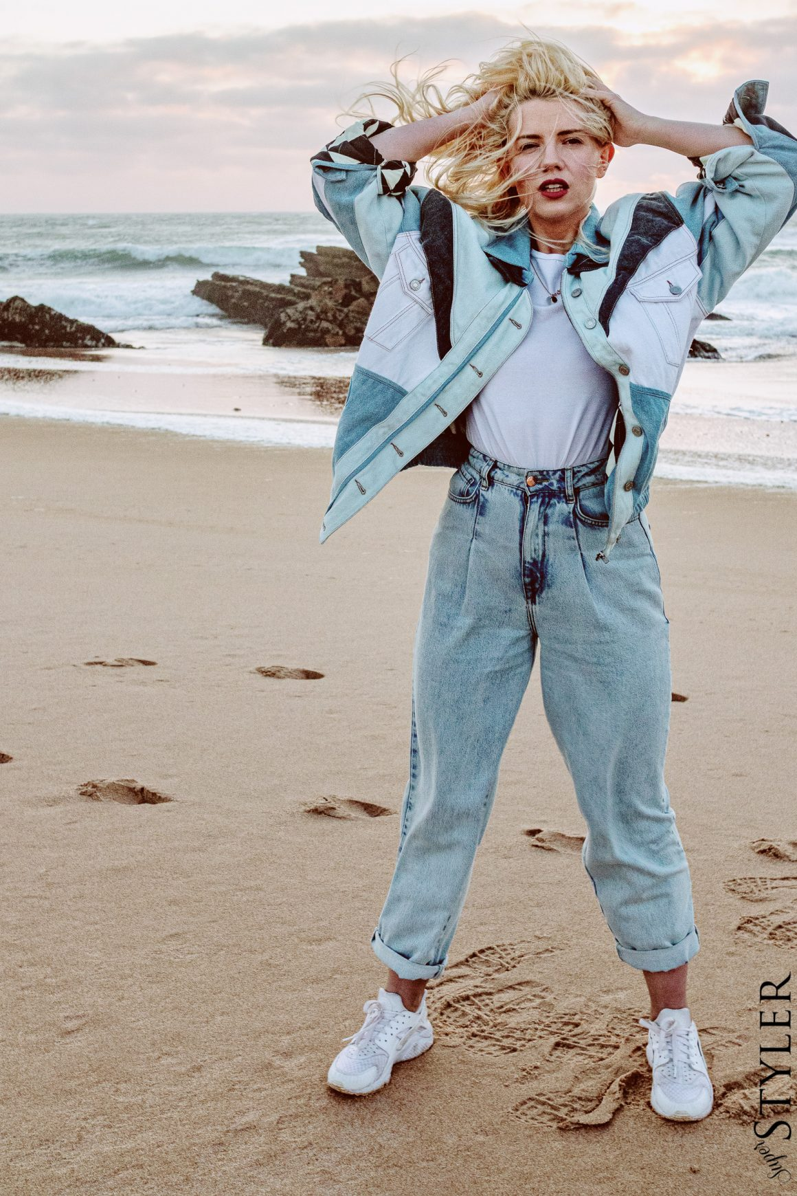 jenasowa kurtka total look vintage superstyler