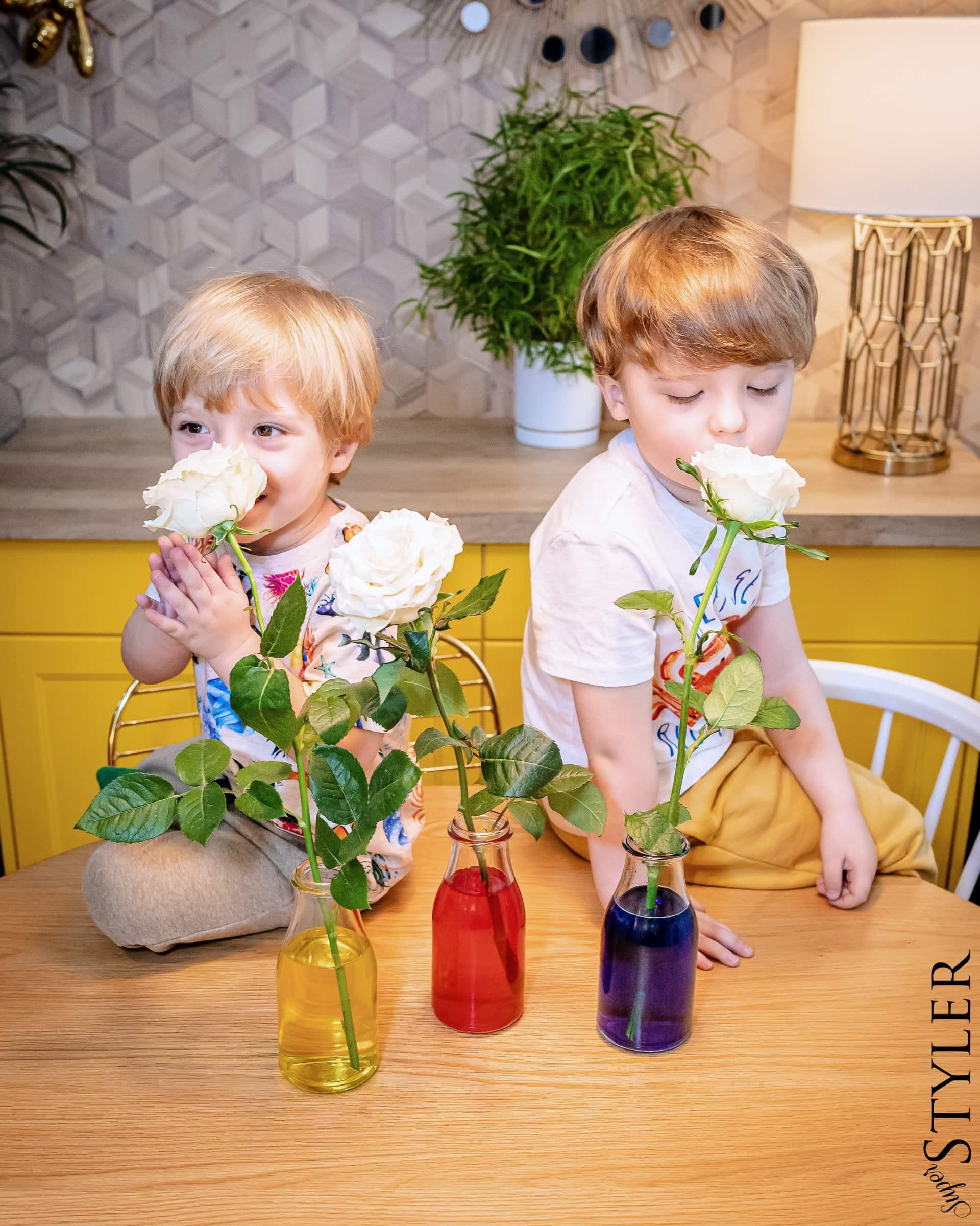 eksperymenty dla dzieci - kolorowe kwiaty